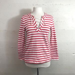Kate Spade Red/White Stripe Lace Up Tunic Small
